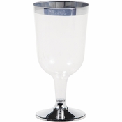 Metallic Rimmed Wine Glass 6 oz 96 ct