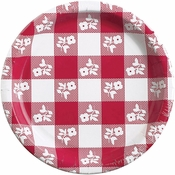 Red Gingham Banquet Plates 96 ct