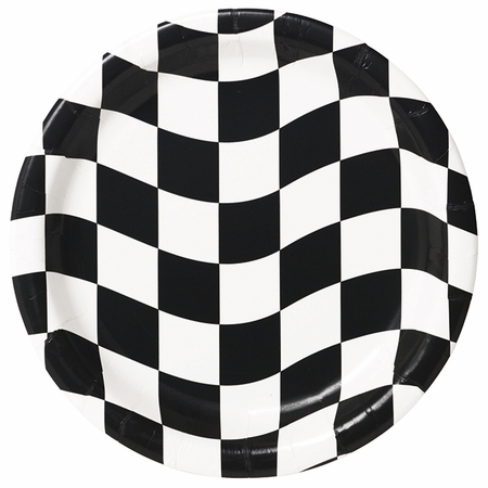 Black and White Check Dinner Plates 96 ct
