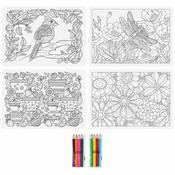 "10"" x 14"" Adult Coloring Placemats and Colored Pencils Combo Pack 200 ct"