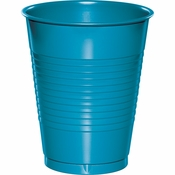 Touch of Color Turquoise 16 oz Plastic Cups in quantities of 20 / pkg, 12 pkgs / case