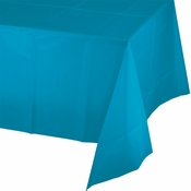 Touch of Color Turquoise Plastic Tablecloths in quantities of 1 / pkg, 12 pkgs / case