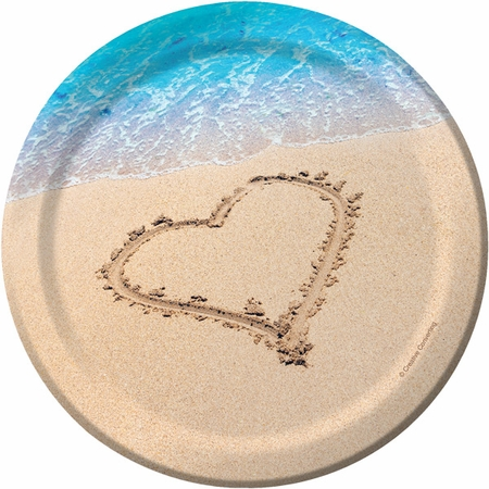 Blue and tan Beach Love Dessert Plates sold in quantities of 8 / pkg, 12 pkgs / case