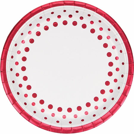 Sparkle and Shine Ruby Foil Dinner Plates