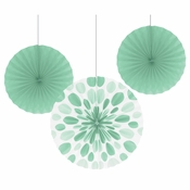 Mint Green Paper Fan Sets 18 ct