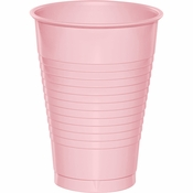 Touch of Color Classic Pink 12 oz Plastic Cups in quantities of 20 / pkg, 12 pkgs / case