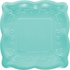 Teal Embossed Square Dessert Plates 48 ct