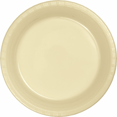 Touch of Color Ivory Plastic Dessert Plates in quantities of 20 / pkg, 12 pkgs / case