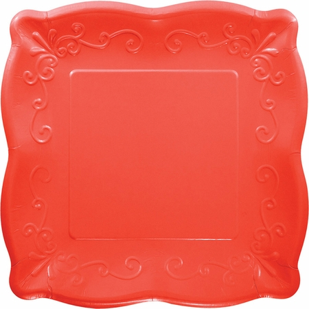 Coral Embossed Square Banquet Plates 48 ct