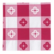 Red Gingham Beverage Napkins in quantities of 250 / pkg, 4 pkgs / case