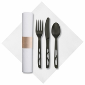 "7.75"" x 7.75"" Pre-rolled FashnPoint Kraft CaterWrap White Dinner Napkins with Black Cutlery 50 ct"
