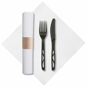 "7.75"" x 7.75"" Pre-rolled FashnPoint CaterWrap White Dinner Napkins Black Knife and Fork 50 ct"