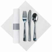 "8"" x 8.5"" Pre-Rolled Linen-Like CaterWrap White Dinner Napkins with Metallic Cutlery 100 ct"