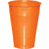 Touch of Color Sunkissed Orange 12 oz Plastic Cups in quantities of 20 / pkg, 12 pkgs / case