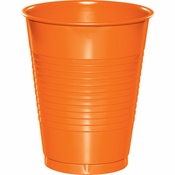 Touch of Color Sunkissed Orange 16 oz Plastic Cups in quantities of 20 / pkg, 12 pkgs / case