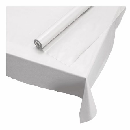 "White 40"" x 100 Plastic Banquet Table Roll is sold in quantities of 1 / pkg, 1 pkg /case"