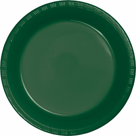 Touch of Color Hunter Green Plastic Dessert Plates in quantities of 20 / pkg, 12 pkgs / case