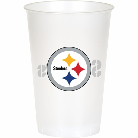 Black, white and gold Pittsburgh Steelers 20 oz Plastic Cups sold in quantities of 8 / pkg, 12 pkgs / case