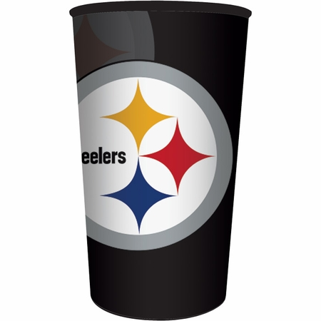 Black, white and gold Pittsburgh Steelers 22 oz Plastic Stadium Cups sold in quantities of 1 / pkg, 20 pkgs / case