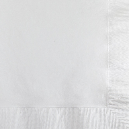 Touch of Color White 2 ply Beverage Napkins in quantities of 50 / pkg, 12 pkgs / case