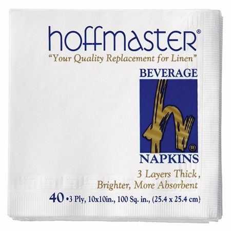 White Beverage Napkins Retail Pack in quantities of 40 / pkg, 24 pkgs / case
