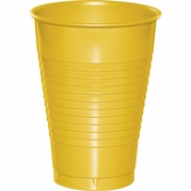 Touch of Color School Bus Yellow 12 oz Plastic Cups in quantities of 20 / pkg, 12 pkgs / case