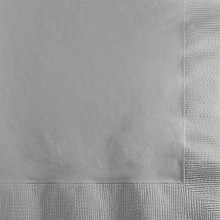 Touch of Color Shimmering Silver 2 ply Beverage Napkins in quantities of 50 / pkg, 12 pkgs / case