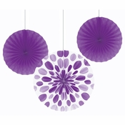 Amethyst Purple Paper Fan Sets 18 ct