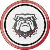 Red and black University of Georgia Dessert Plate sold in quantities of 8 / pkg, 12 pkg / case