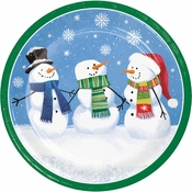 Smiling Snowmen Dinner Plates 96 ct