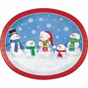 Smiling Snowmen Oval Plates 96 ct