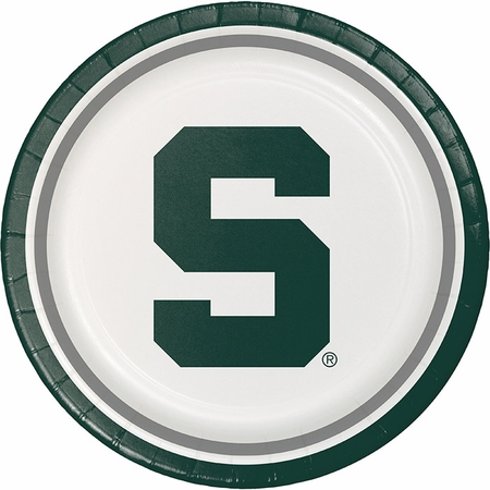 Green and white Michigan State Dinner Plate sold in quantities of 8 / pkg, 12 pkg / case