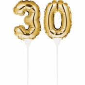 30 Gold Number Balloon Cake Toppers 24 ct