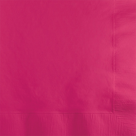 Touch of Color Hot Magenta 2 ply Beverage Napkins in quantities of 50 / pkg, 12 pkgs / case