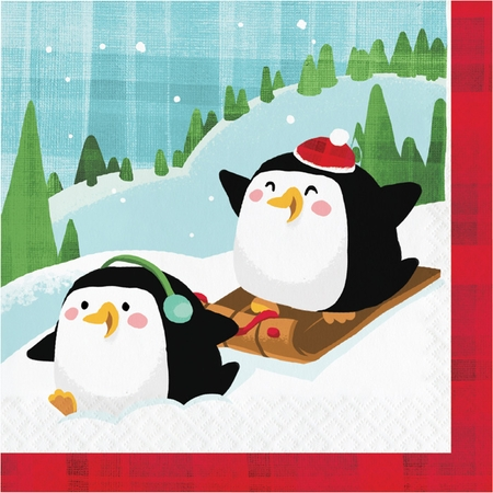 Santa and Penguins Luncheon Napkins 192 ct