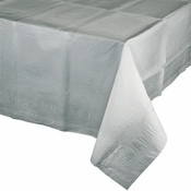 Touch of Color Shimmering Silver Paper Tablecloths in quantities of 1 / pkg, 12 pkgs / case