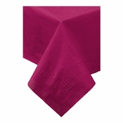 "Burgundy Cellutex Paper Tablecloths measures 54"" x 108"" constructed of 2 ply tissue, 1 ply poly and sold in quantities of 1 / pkg, 25 pkgs / case"
