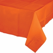 Touch of Color Sunkissed Orange Paper Tablecloths in quantities of 1 / pkg, 12 pkgs / case
