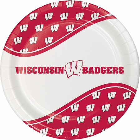 Red and white University of Wisconsin Dinner Plate sold in quantities of 8 / pkg, 12 pkgs / case