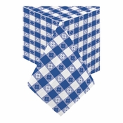 "Navy Gingham Cellutex Paper Tablecloths measures 54"" x 108"" constructed of 2 ply tissue, 1 ply poly and sold in quantities of 1 / pkg, 25 pkgs / case"