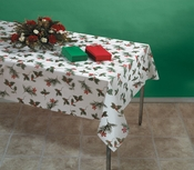 Red and green Winterberries Linen-Like Tablecloths in quantities of 1 / pkg, 24 pkgs / case
