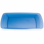 For modern appeal at budget friendly price points choose the Translucent Blue TrendWare Square Banquet Plate sold in quantities of 8 / pkg, 6 pkgs / case