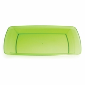 For sleek, modern, plastic serving ware for entertaining, choose the Translucent Green TrendWare Square Banquet Plate sold in quantities of 8 / pkg, 6 pkgs / case