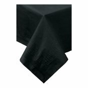 "Black Cellutex Square Paper Tablecloths measures 54"" x 54"" constructed of 2 ply tissue, 1 ply poly and sold in quantities of 1 / pkg, 50 pkgs / case"