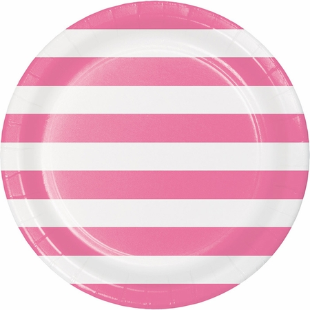 Candy Pink Polka Dots and Stripes Dinner Plates 96 ct