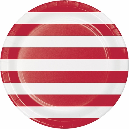 Red Polka Dots and Stripes Dinner Plates 96 ct