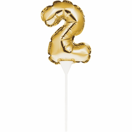 2 Gold Number Balloon Cake Toppers 12 ct