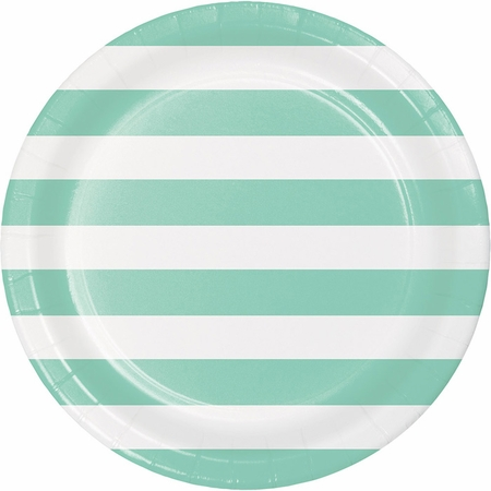 Mint Green Polka Dots and Stripes Dinner Plates 96 ct