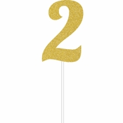 Gold Glitter #2 Cake Toppers 12 ct