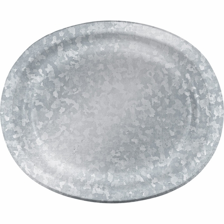 Galvanized Oval Dinner Plates 96 ct